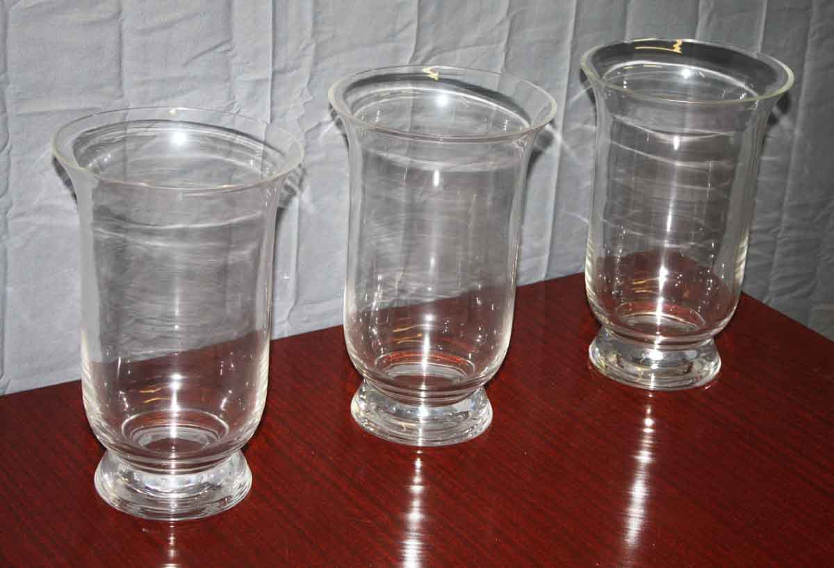 Set of Three Large Glass Vases