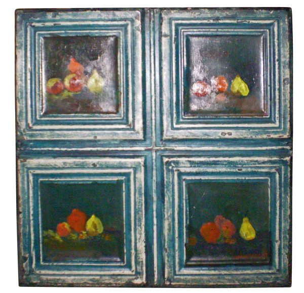 Antique Ceiling Tin Panel Hand Painted with Four Still Lifes