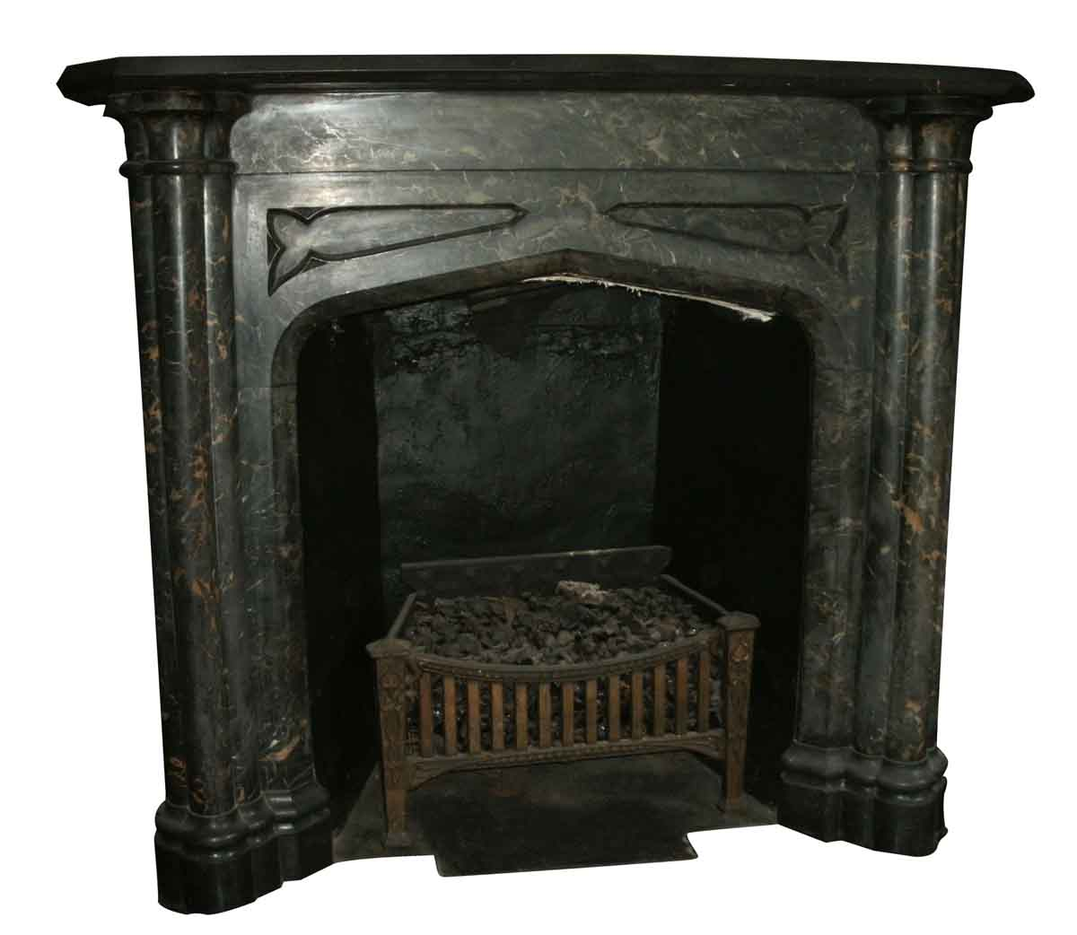 Black & Gold Gothic Revival Mantel
