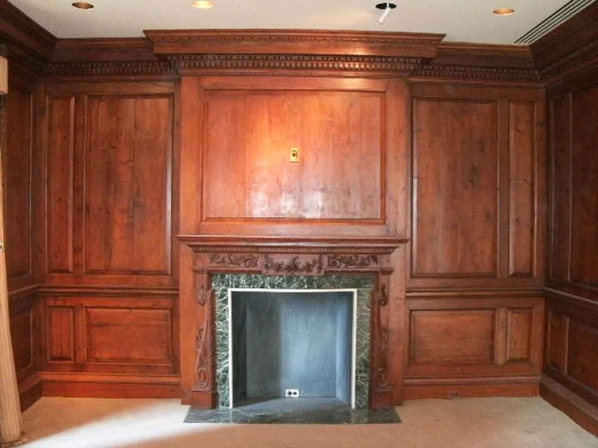 Antique Knotty Pine Paneled Room with Marble Mantel