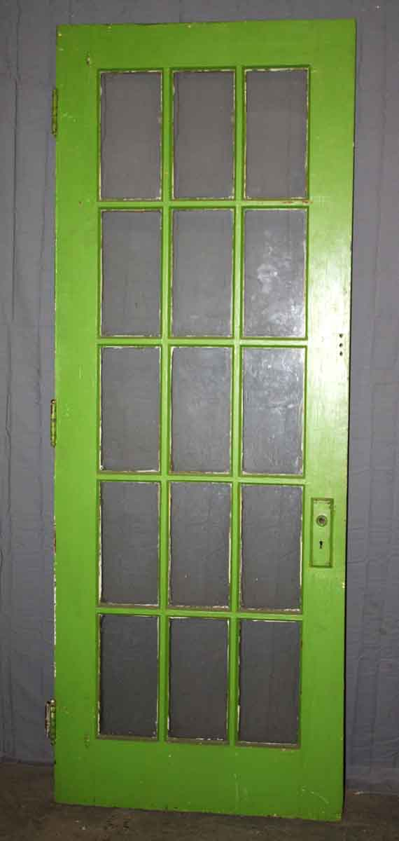 Single French Door Painted Green