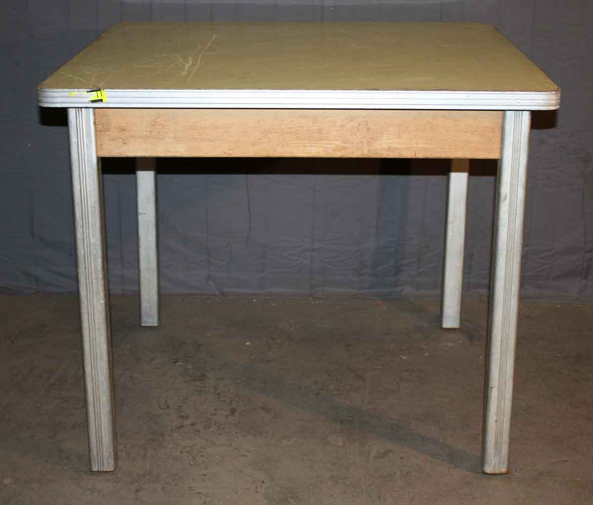 1940s small dining table with brushed aluminum legs olde