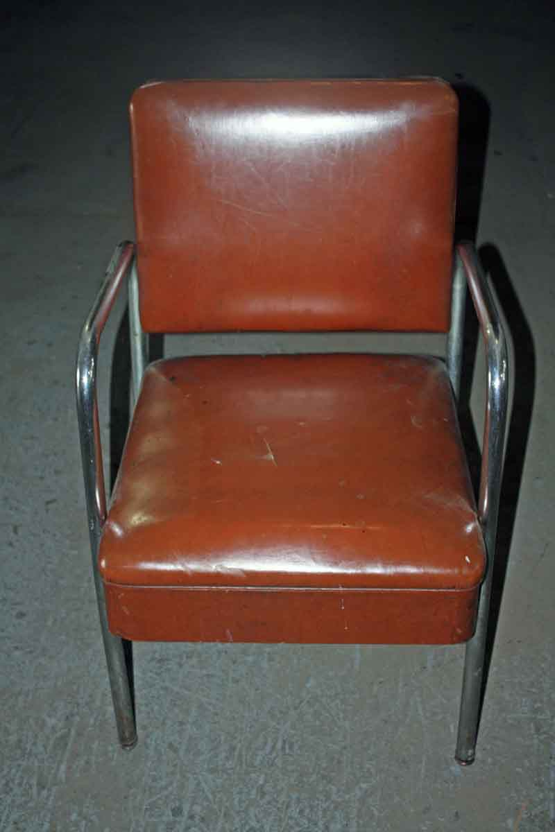 Leatherette Upholstered Chair with Chrome Arms & Legs