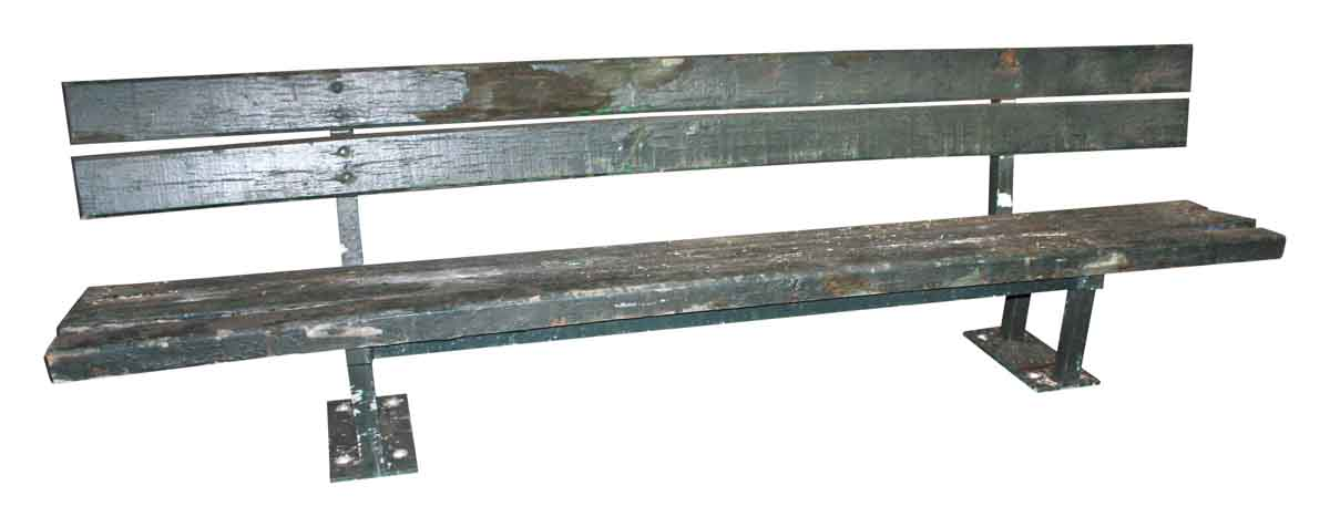 Antique Wooden Park Bench with Original Green Paint