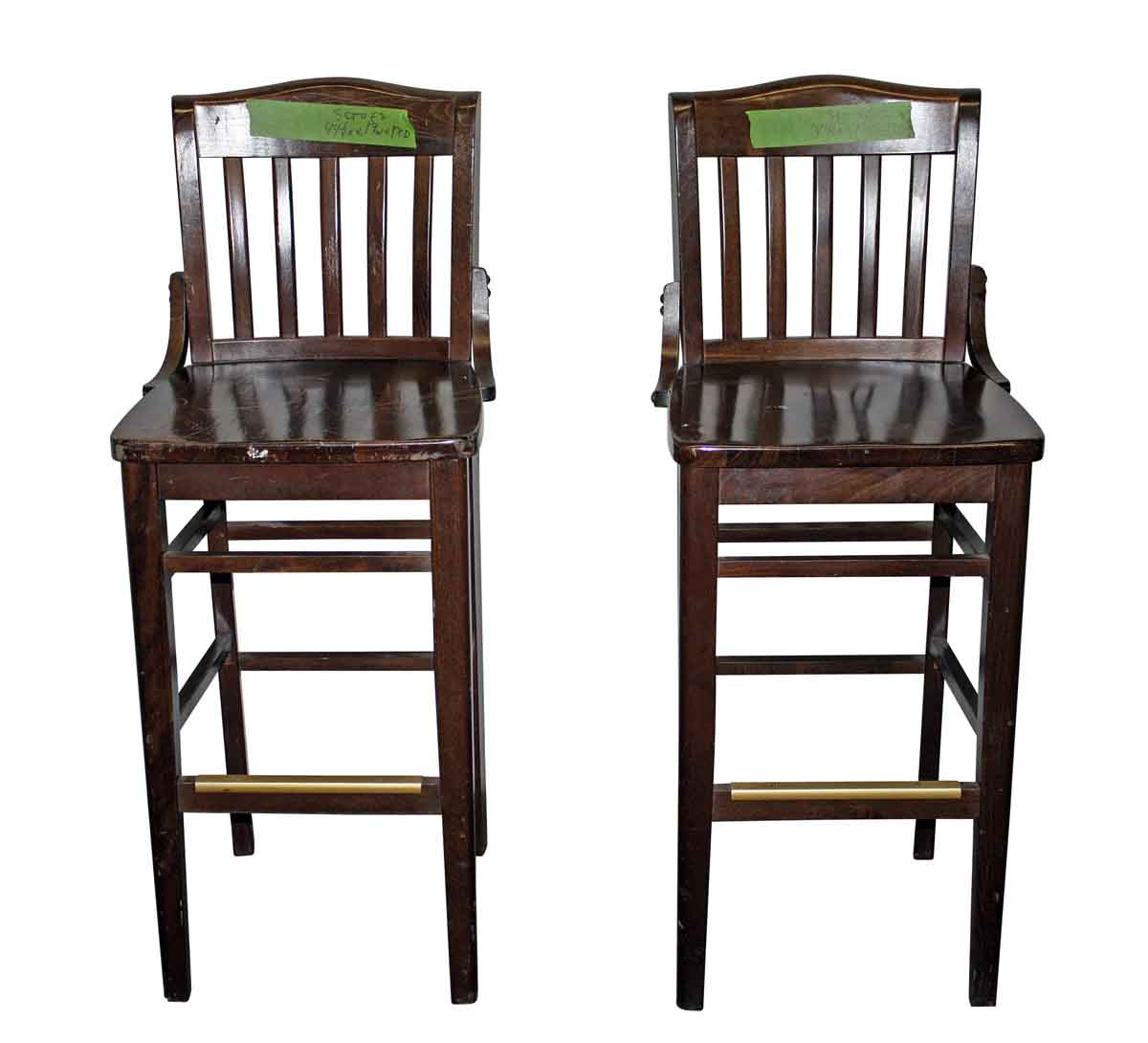 High Stool with Slatted Back