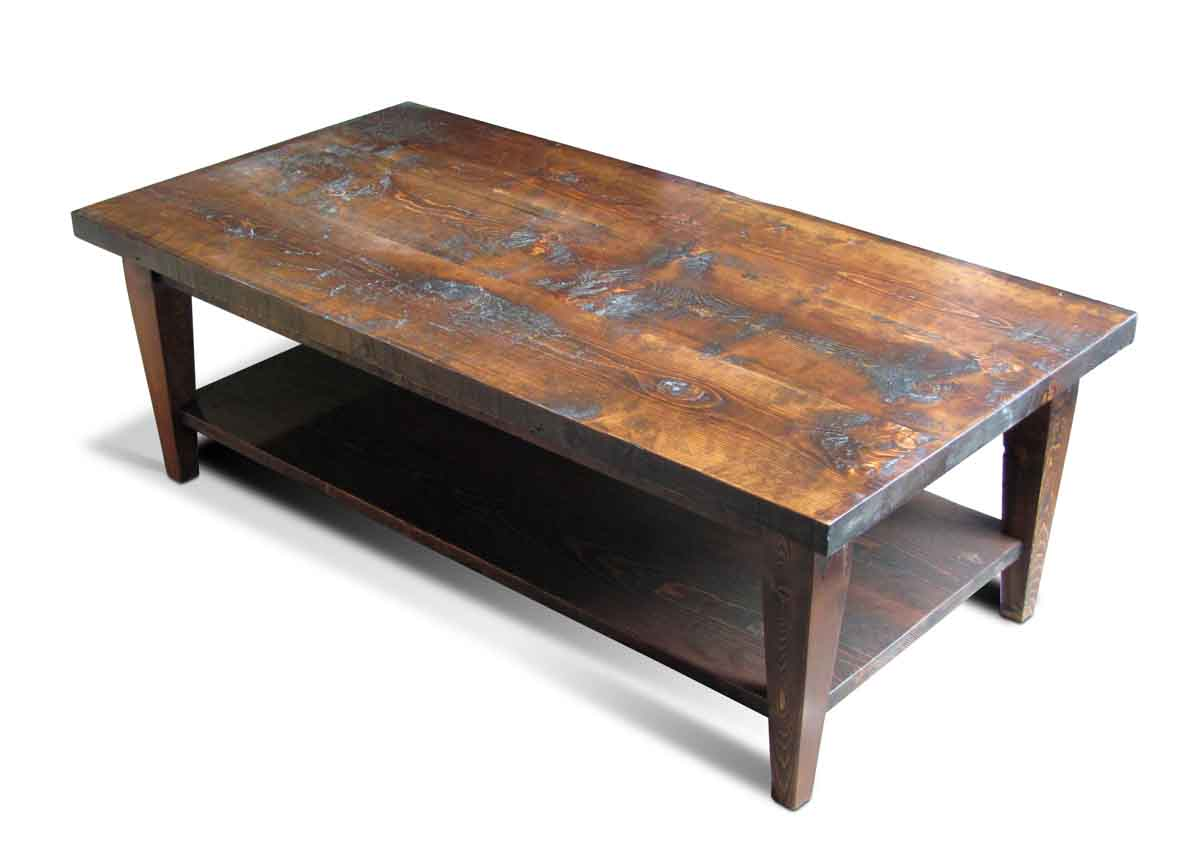 Reclaimed pine coffee table with bottom shelf olde good for Reclaimed coffee table