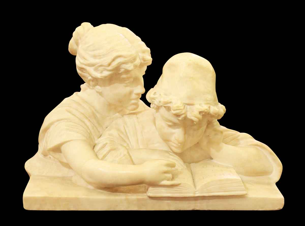 Marble Sculpture of Boy & Girl Reading a Book