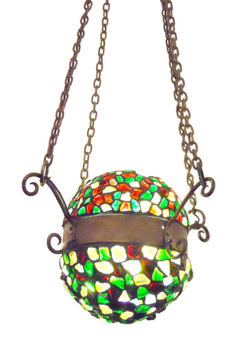 Colorful Cut Glass Mosaic Folk Art Hanging Light