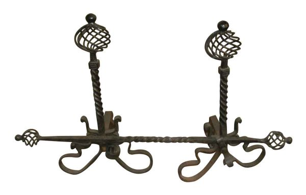Set of Fireplace Andirons with Cross Bar