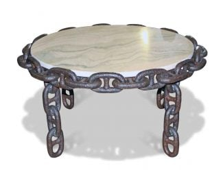 Round Salvaged Anchor Chain Table