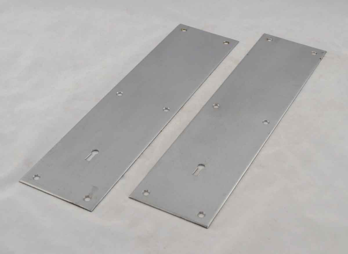 Nickel Plated Bronze Push Plate with Keyhole