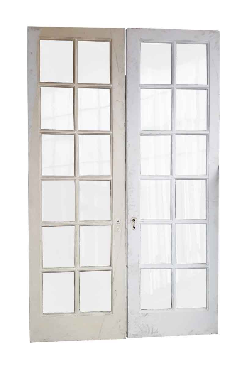 Pair of 12 panel glass french style double doors olde for Double pane french doors