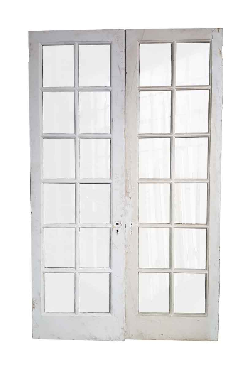 pair of 12 panel glass french style double doors olde