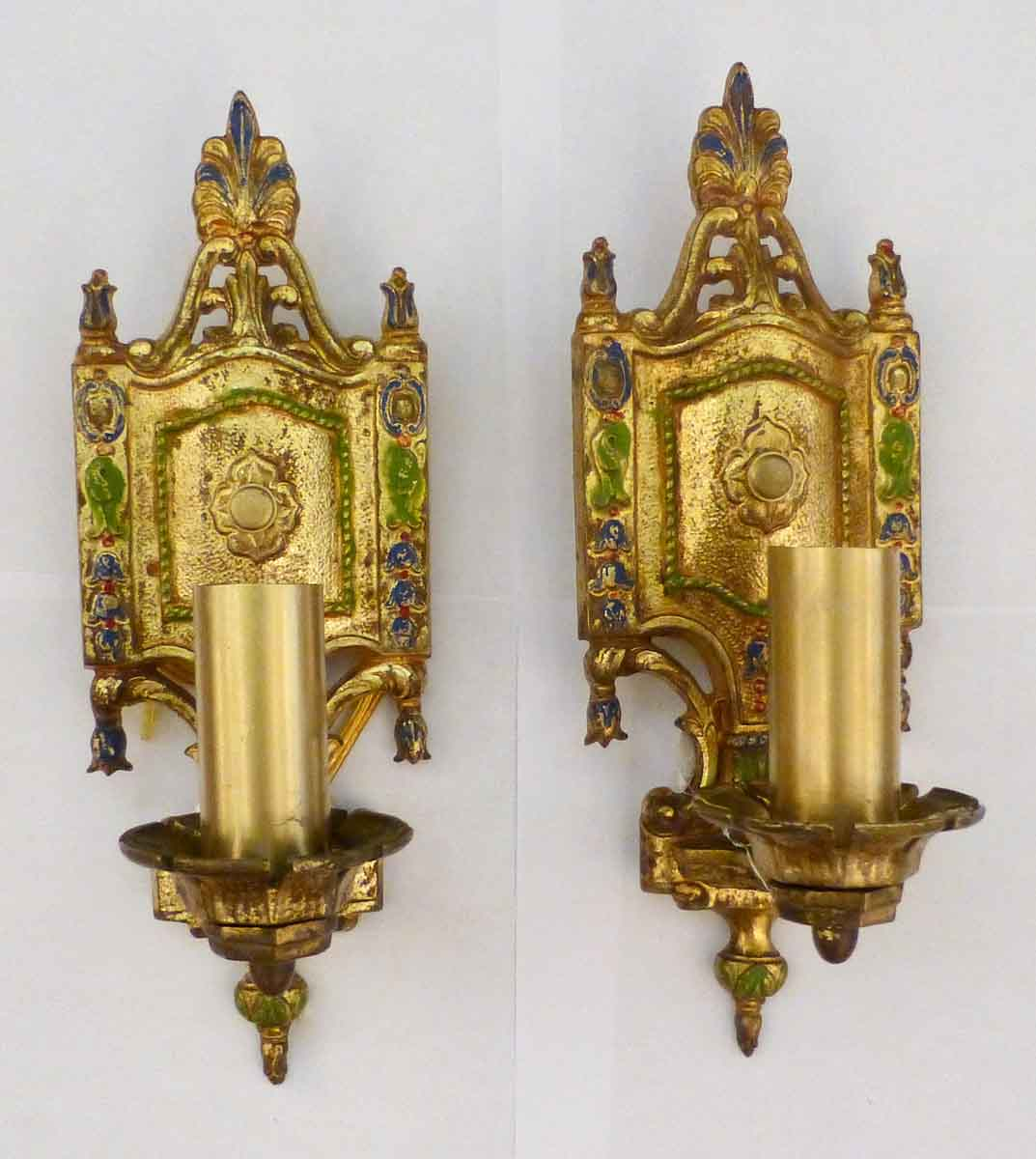 Pair of Gold Paint Over Brass Sconces