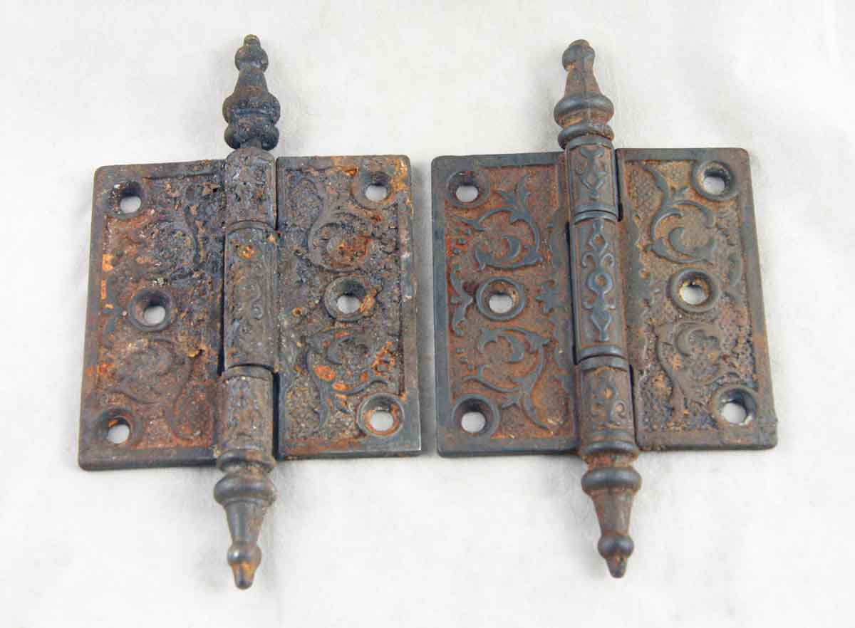 Ornate Steeple Tipped Iron Hinges