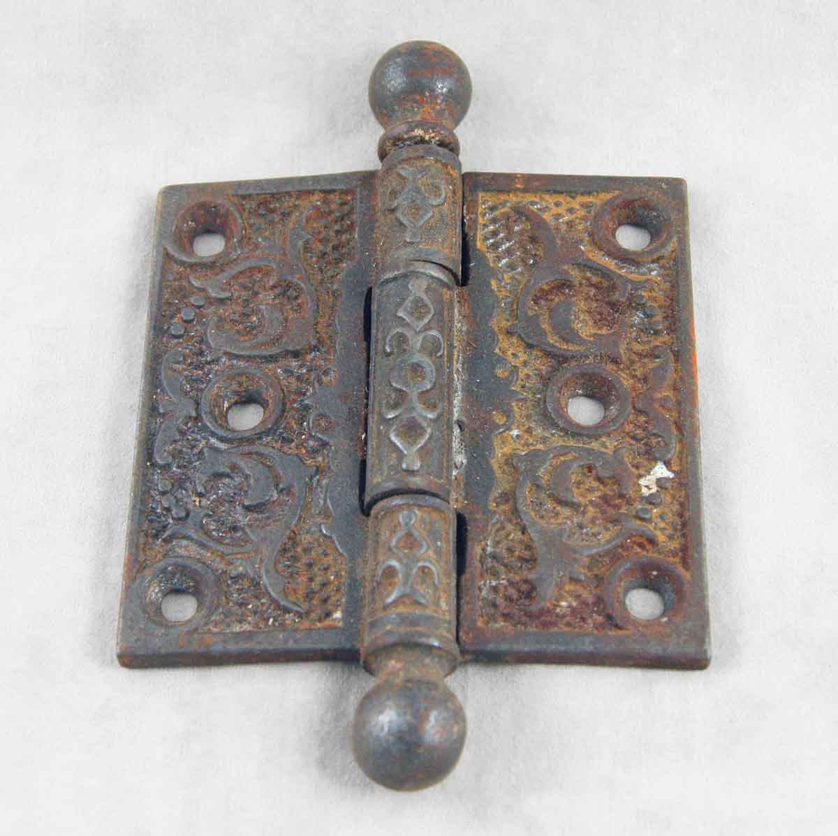 Ornate Ball Tipped Iron Victorian Hinge