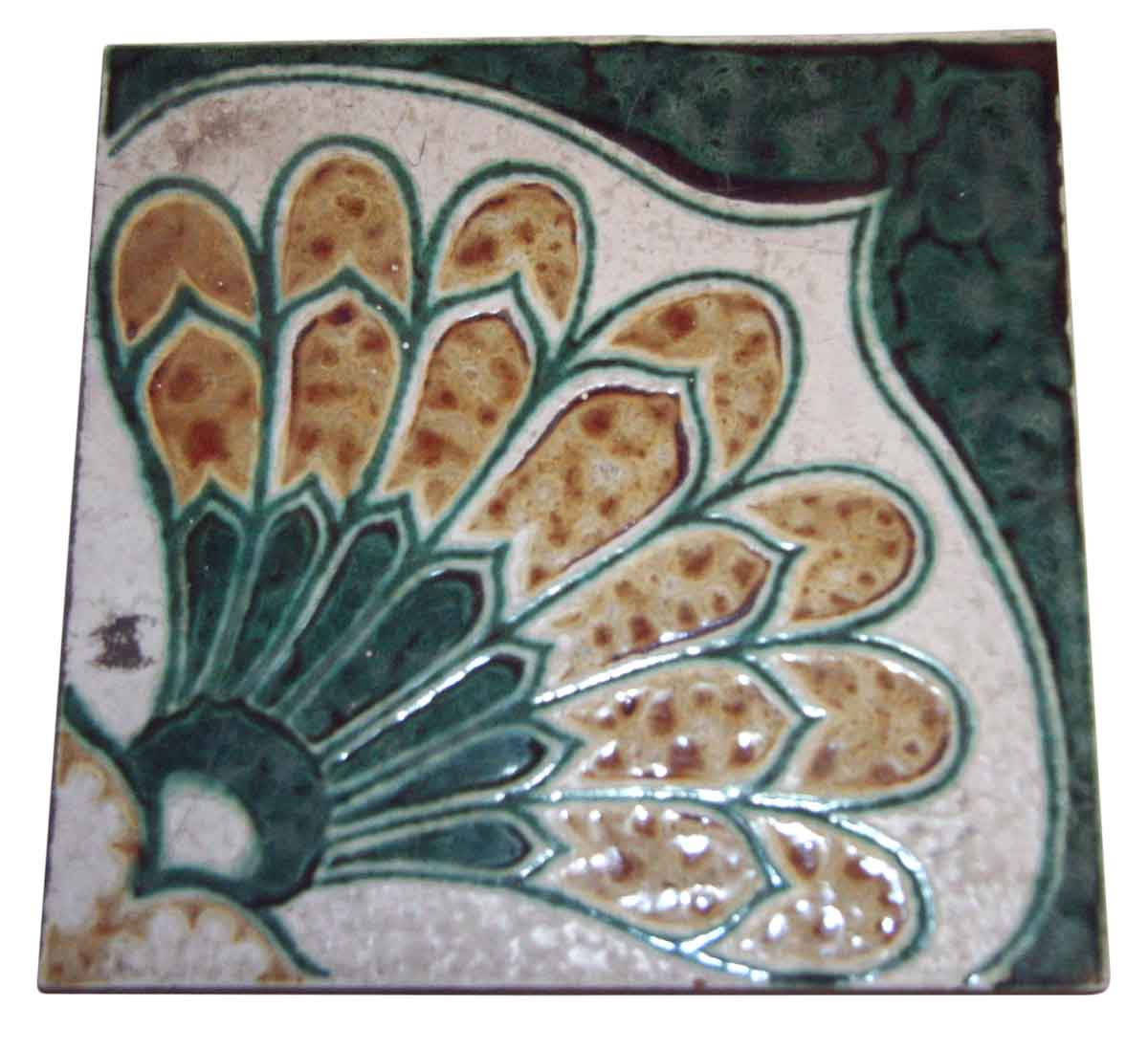 Original Antique Green and White Floor Tile
