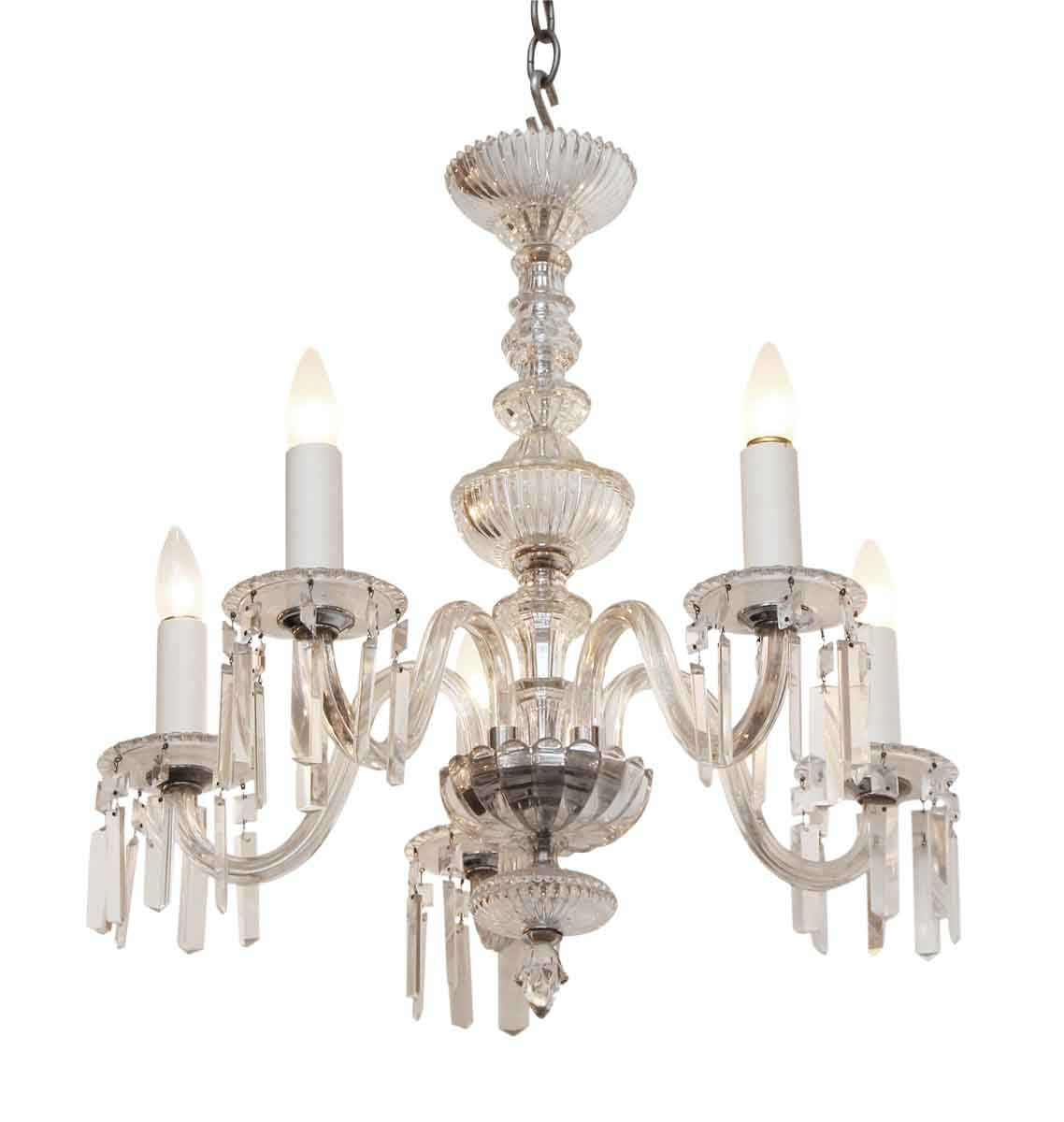 20th Century Five Arm Crystal Chandelier