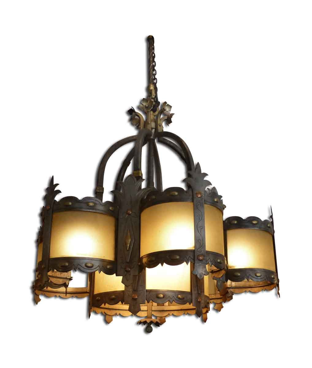 Huge Wrought Iron and Amber Glass Chandelier