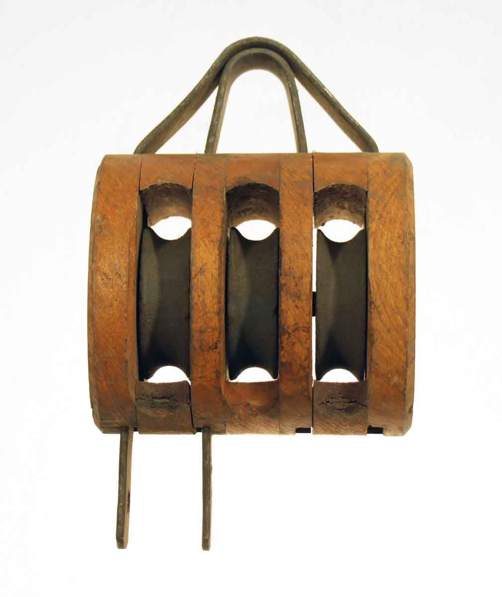 Wooden Pulley with Metal Wheels