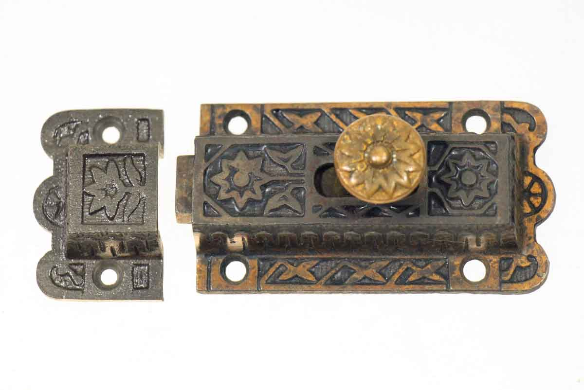 Ornate Iron Victorian Latch with Brass Button