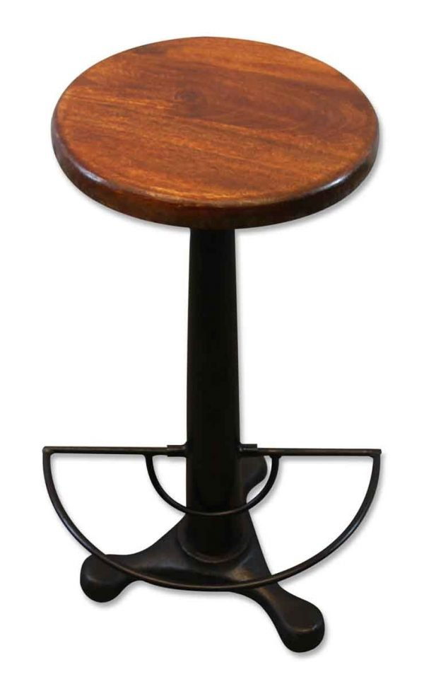 Stool with Swivel Wooden Seat & Foot Rest