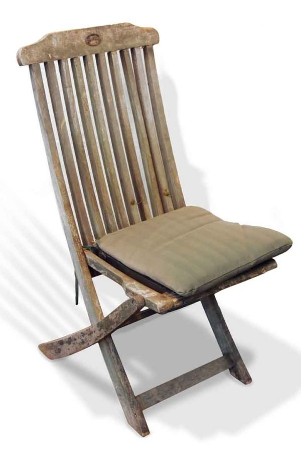 Set of Six Weathered Wooden Folding Chairs