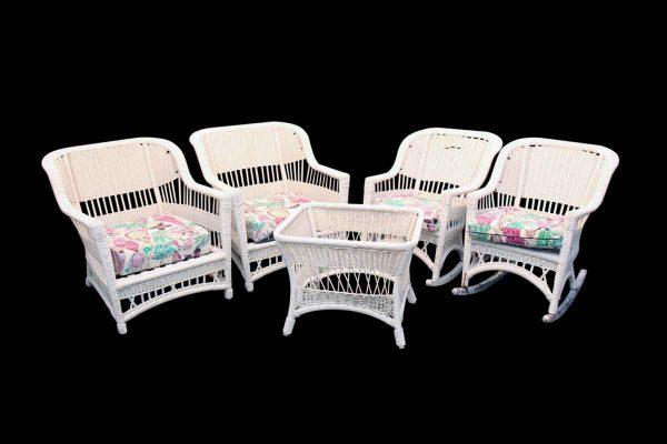 Five Piece White Wicker Patio Set