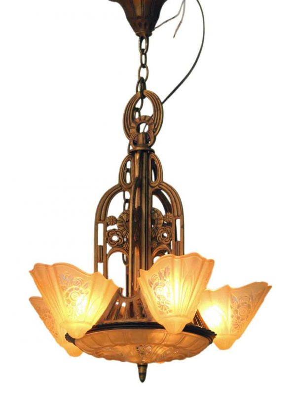 Art Deco Chandelier with Amber Glass Slip Shades