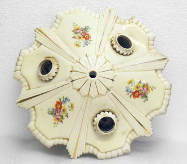 Ceramic Flush Mount Floral Ceiling Fixture