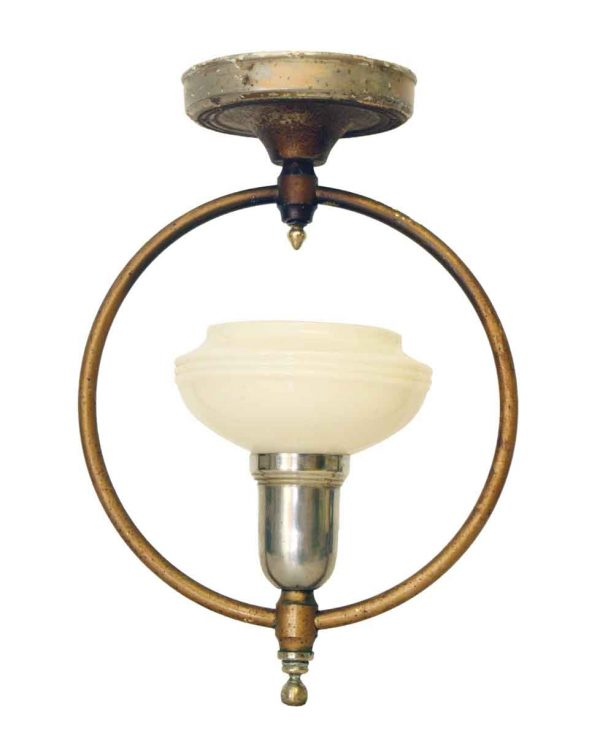 Hanging Brass Fixture with Milk Glass