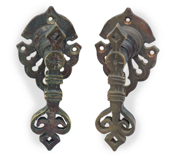 Set of Two Bronze Ornate Lever Pulls
