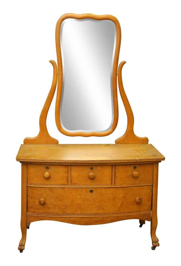 Maple Low Dresser with Mirror
