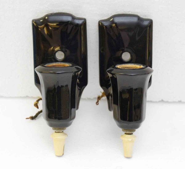 Set of Two Black Wall Sconces