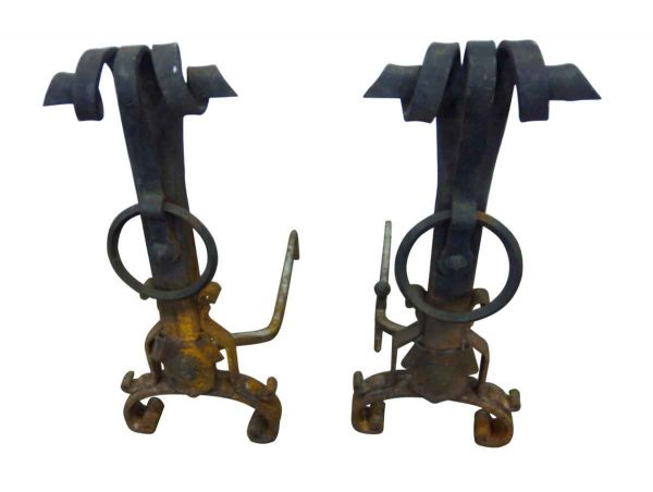 Antique Curved Top Andirons