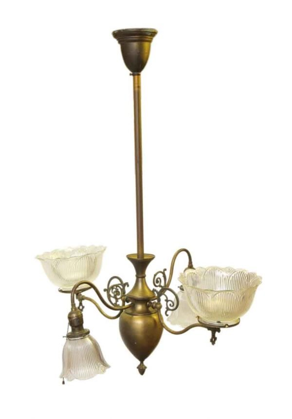 Antique Gas Chandelier from Late 1800s