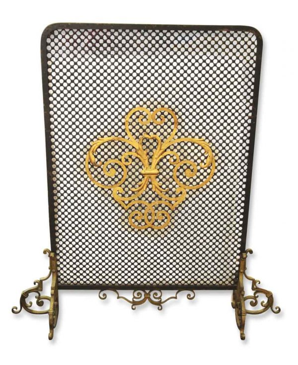 Original Antique Iron Fireplace Screen with French Detail