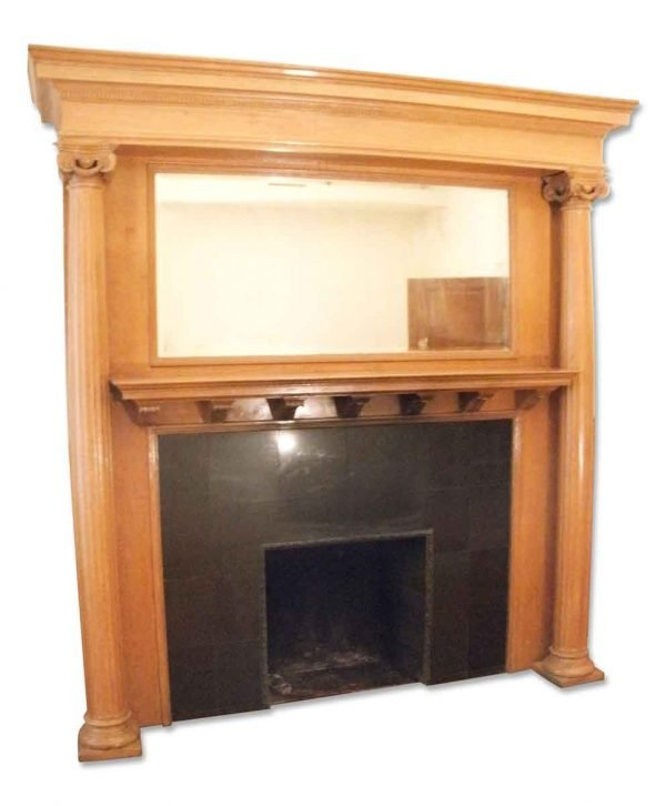 Oversized Oak Wood Mantel with Fluted Columns