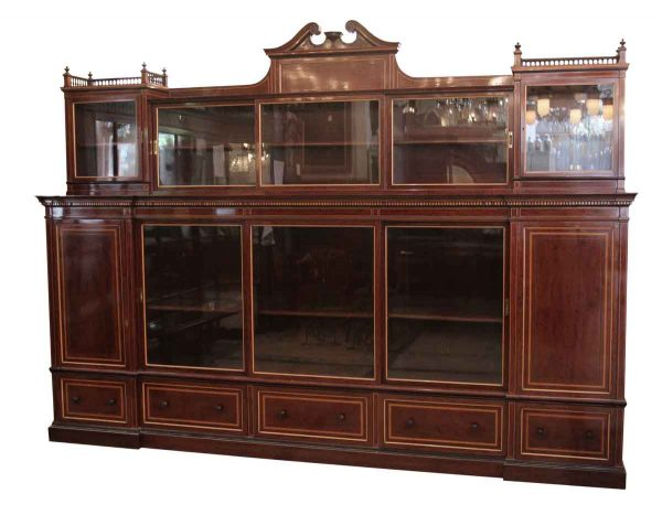 English Inlaid Wall Cabinet from the 1870s