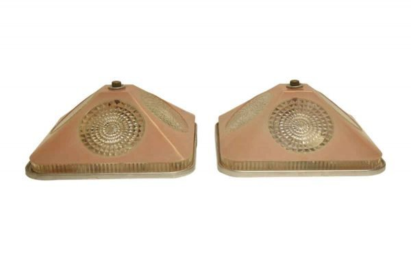 Pair of Pink & Clear Glass Flush Mount Fixtures