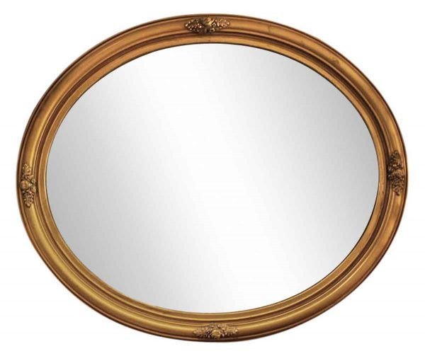 Carved Oval Mirror Gold Gild