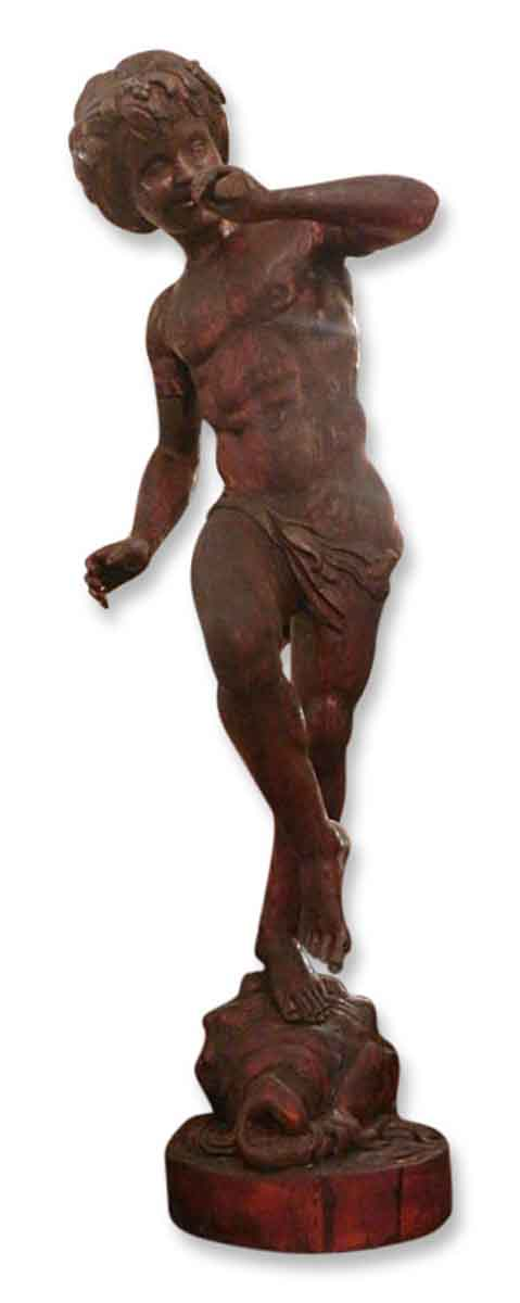 Hand Carved Antique Wooden Statue of Faun