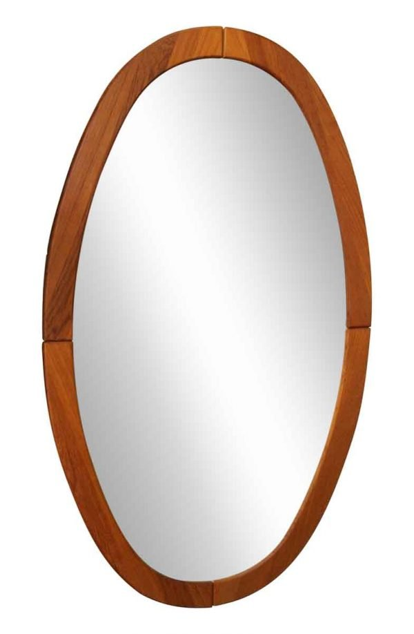Mid Century Oval Wooden Framed Mirror