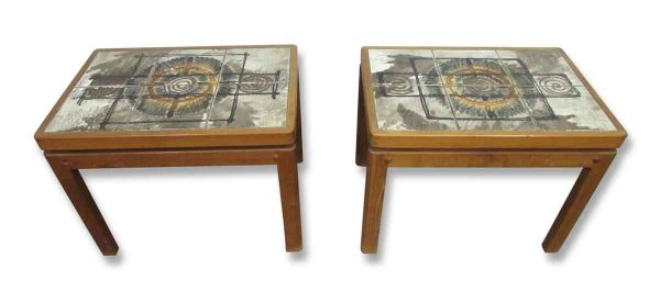 Cool Mid Century Tile Top Wooden Side Tables