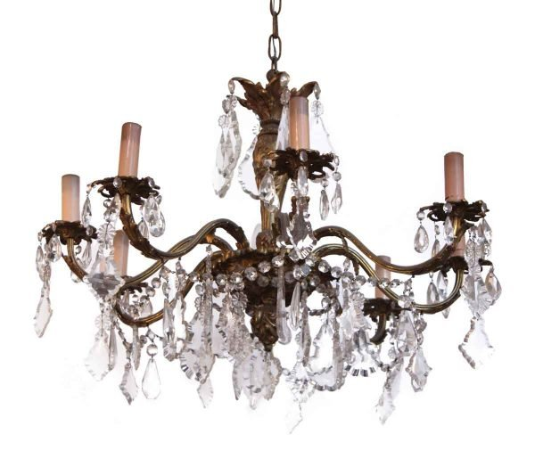 Bronze & Crystal Eight Arm Chandelier