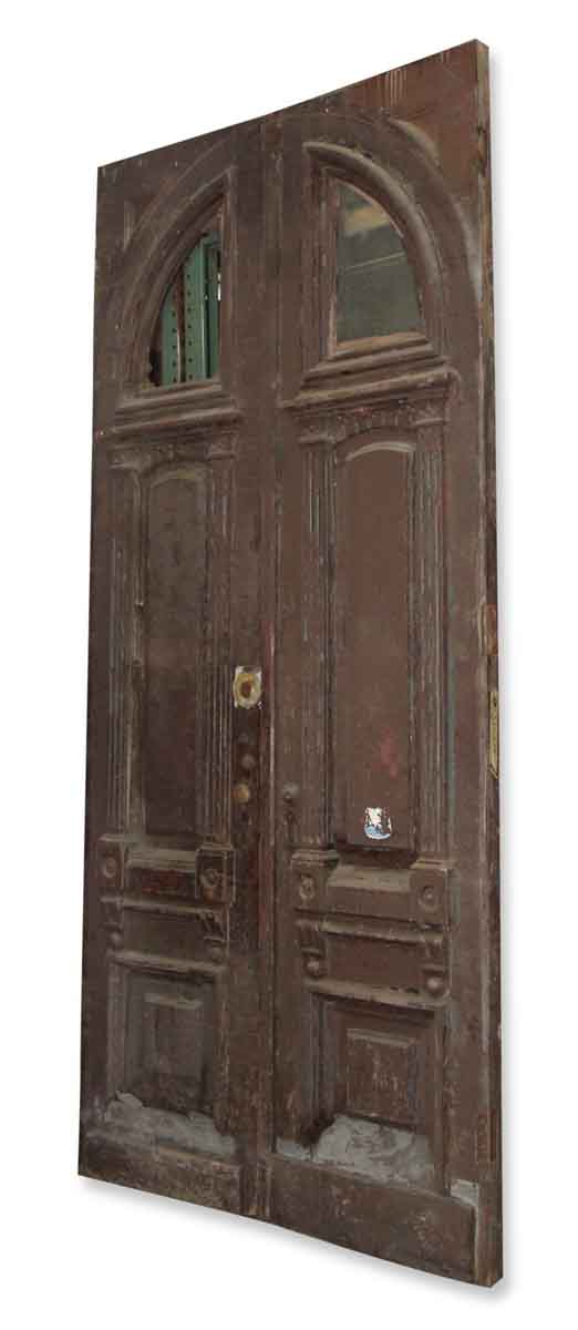 Brownstone Entry Doors with Arched Window