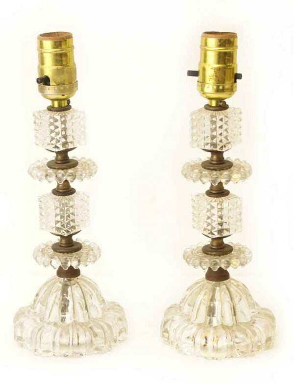 Pair of Tiered Small Glass Lamps