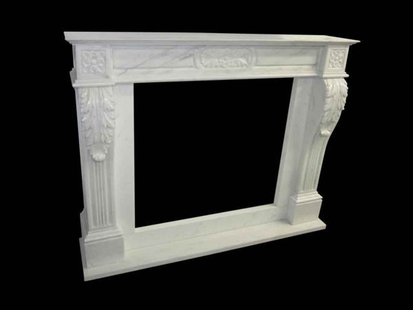 New Olde White Marble Mantel 1970s