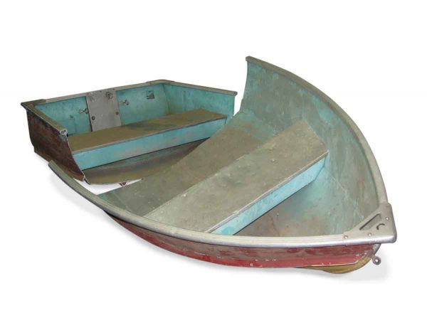 Vintage Metal Boat Cut in Two Pieces for Display