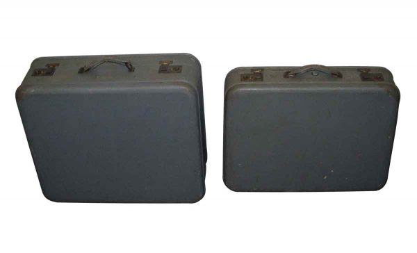 Pair of Gray Monogrammed Suitcases with Red Lining